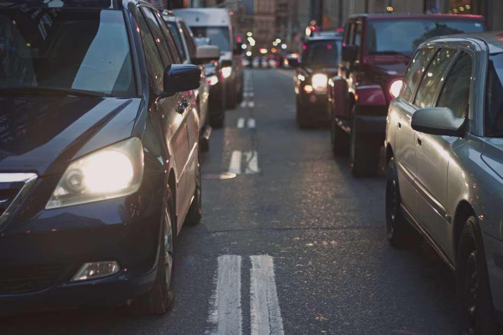 After getting a bad credit car loan, a person drives in traffic