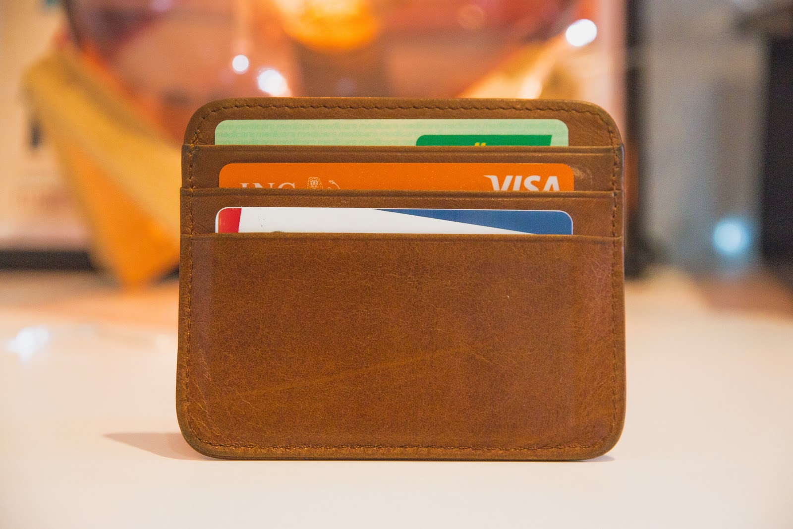 Close up of wallet with several credit cards